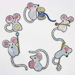 6 PC Shiny Sequin Mouse Silver Iron On Patch